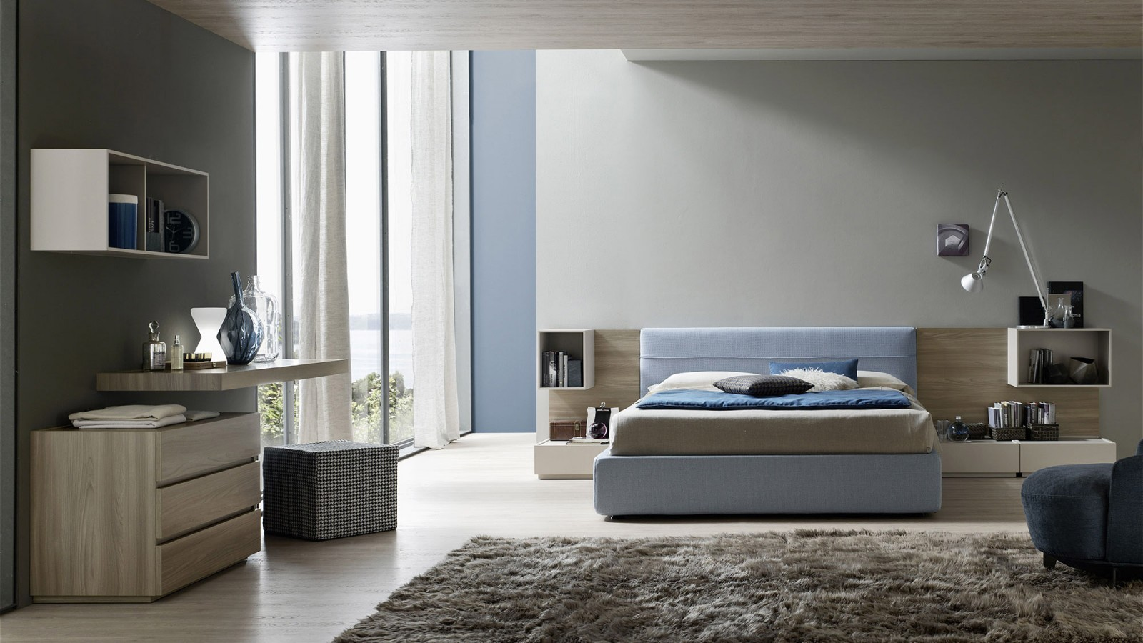 Gruppo notte moderno con moduli e comodini sospesi - Mobili sospesi per camera da letto ...