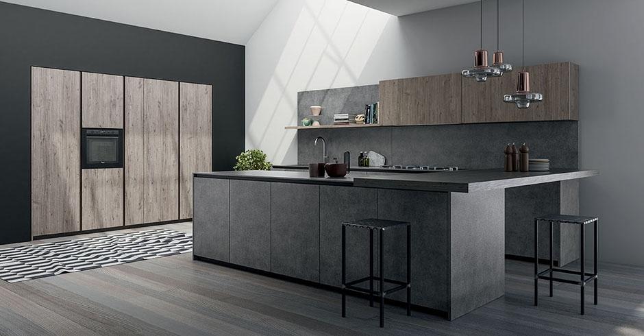 Cucina moderna con basi grandi con gola flat consegne in for Cucine grandi moderne