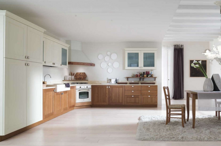 Cucina classica / moderna con ante in legno frassino e rovere ...
