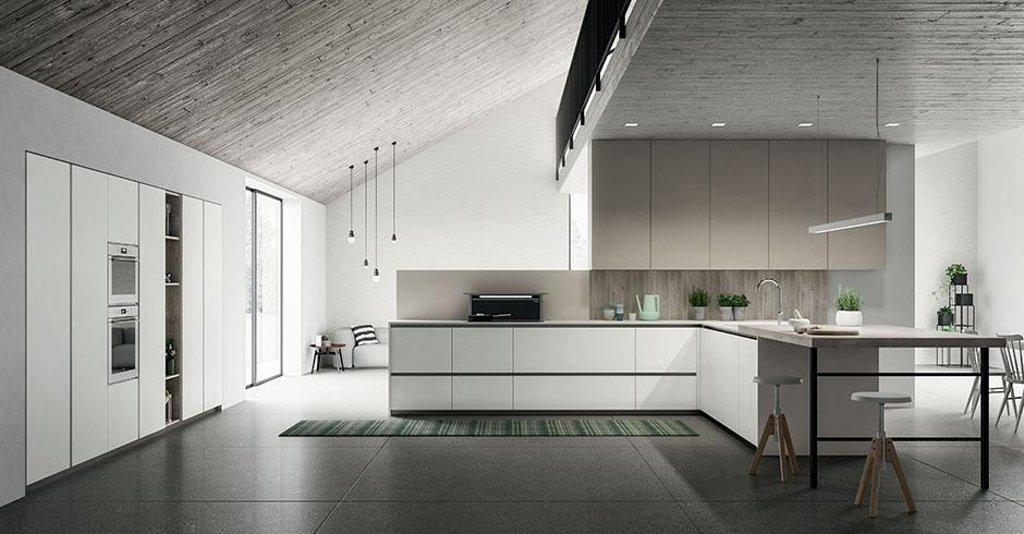 Cucina moderna di design con penisola e cassetti senza maniglie consegne in friuli a udine - Cucina senza maniglie ...
