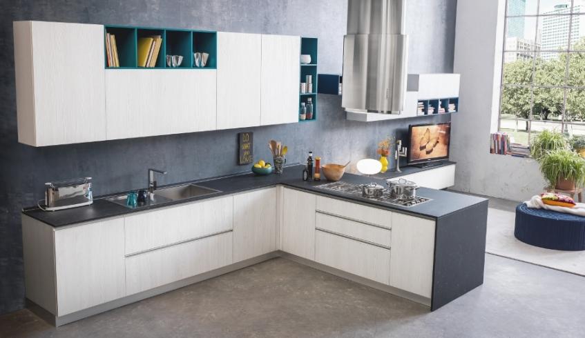 Cucina Moderna con cassettoni grandi di design con maniglie effetto ...