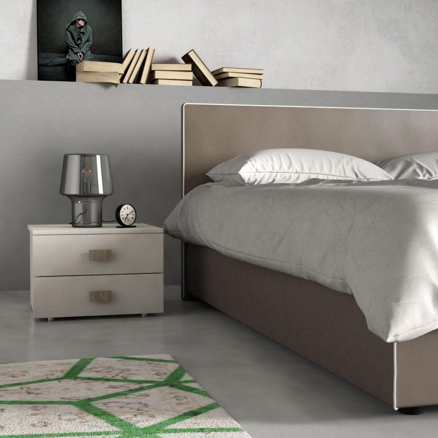 Camera da letto moderna minimal e letto imbottito con o - Camera da letto minimal ...