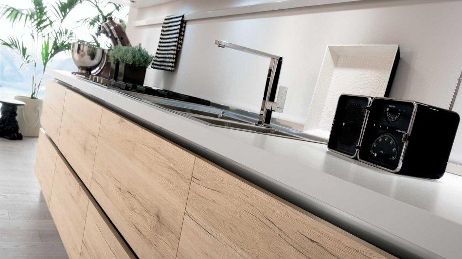 Cucina Moderna lineare o ad angolo con finiture rovere - Consegne ...