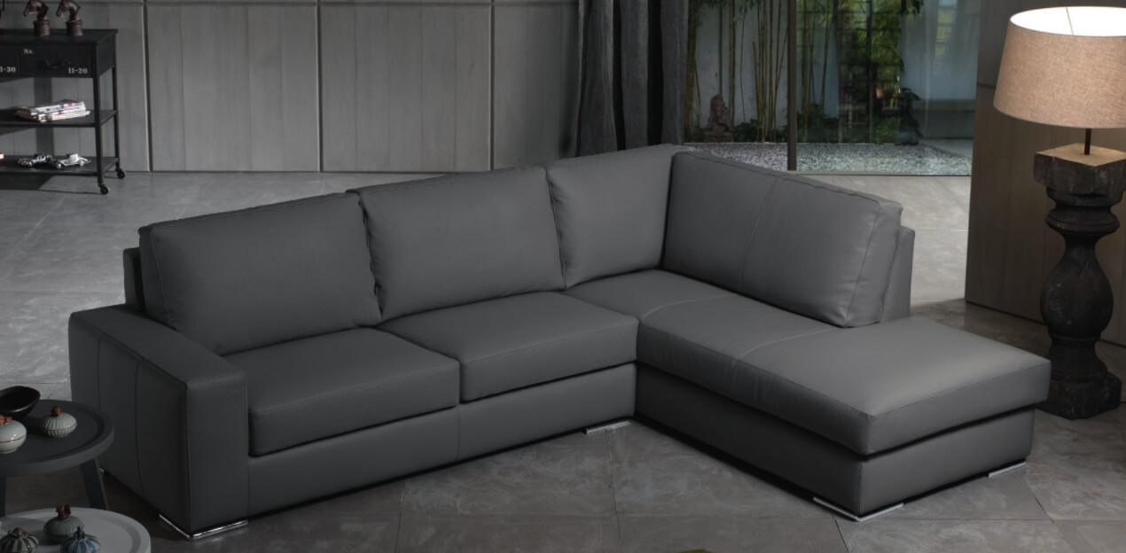 Divano Pelle E Alcantara.Divano Sofa Penisola Vera Pelle Ecopelle Tessuto Microfibra Due