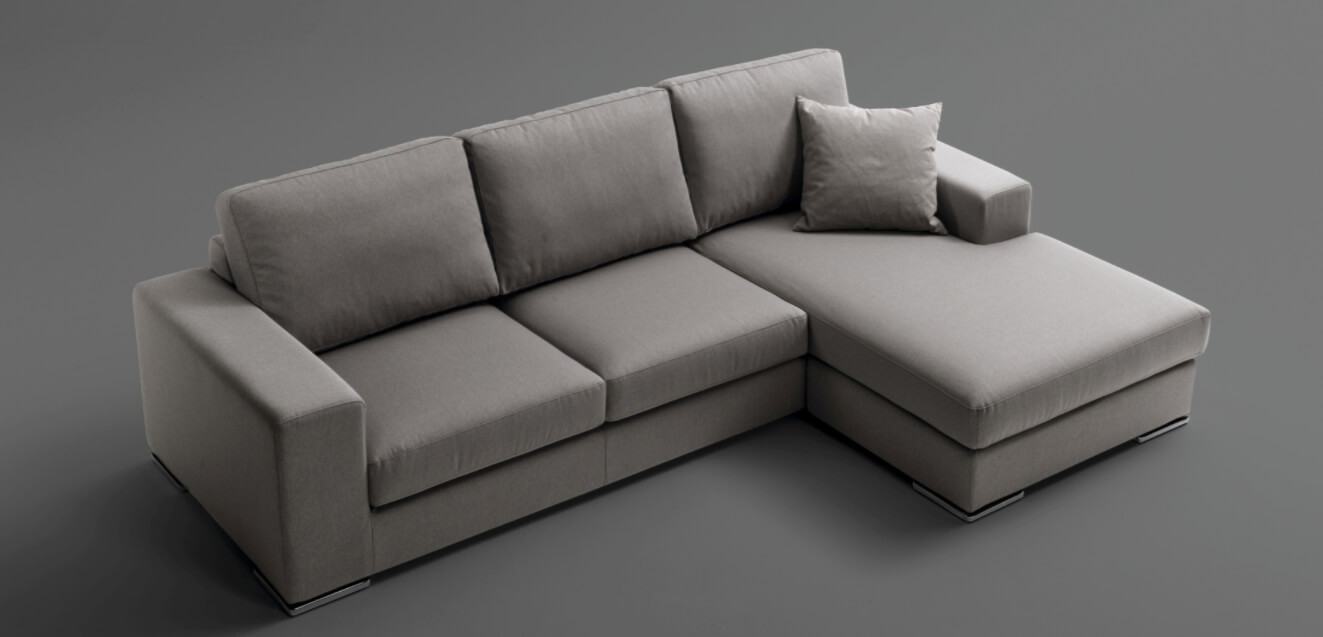 Divano sof con penisola in tessuto microfibra due tre for Divano microfibra