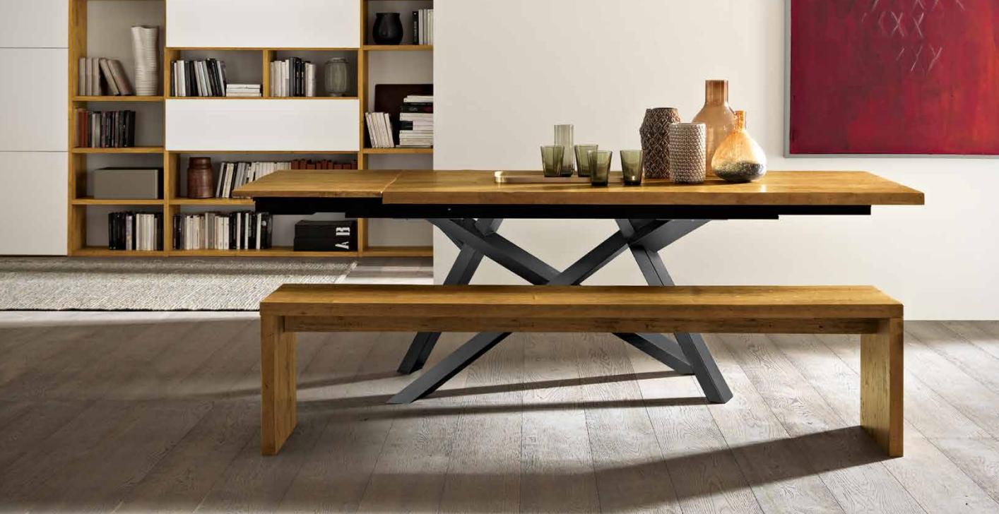 Sedie Per Tavolo Legno Massello tavolo in legno massiccio allungabile, piedi in metallo e