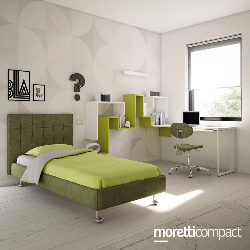Cameretta moretti compact con letto singolo e armadio cabina angolare consegne in friuli a - Letto moretti compact ...