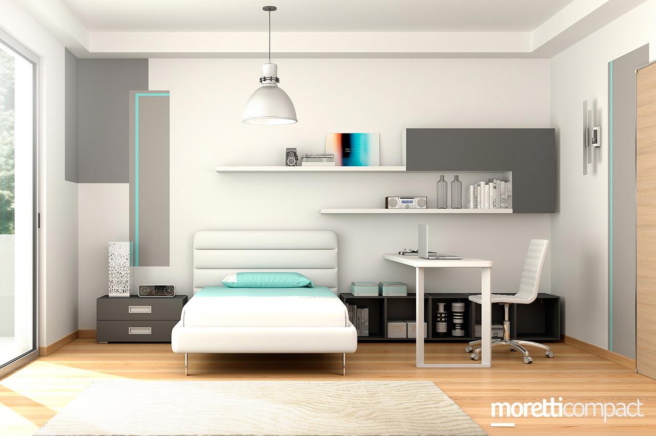 Cameretta moretti compact letto singolo con angolo studio consegne in friuli a udine pordenone - Letto moretti compact ...