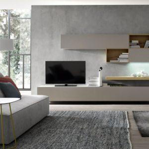 Soggiorno libreria componibile a parete con modulo sospeso porta TV ...