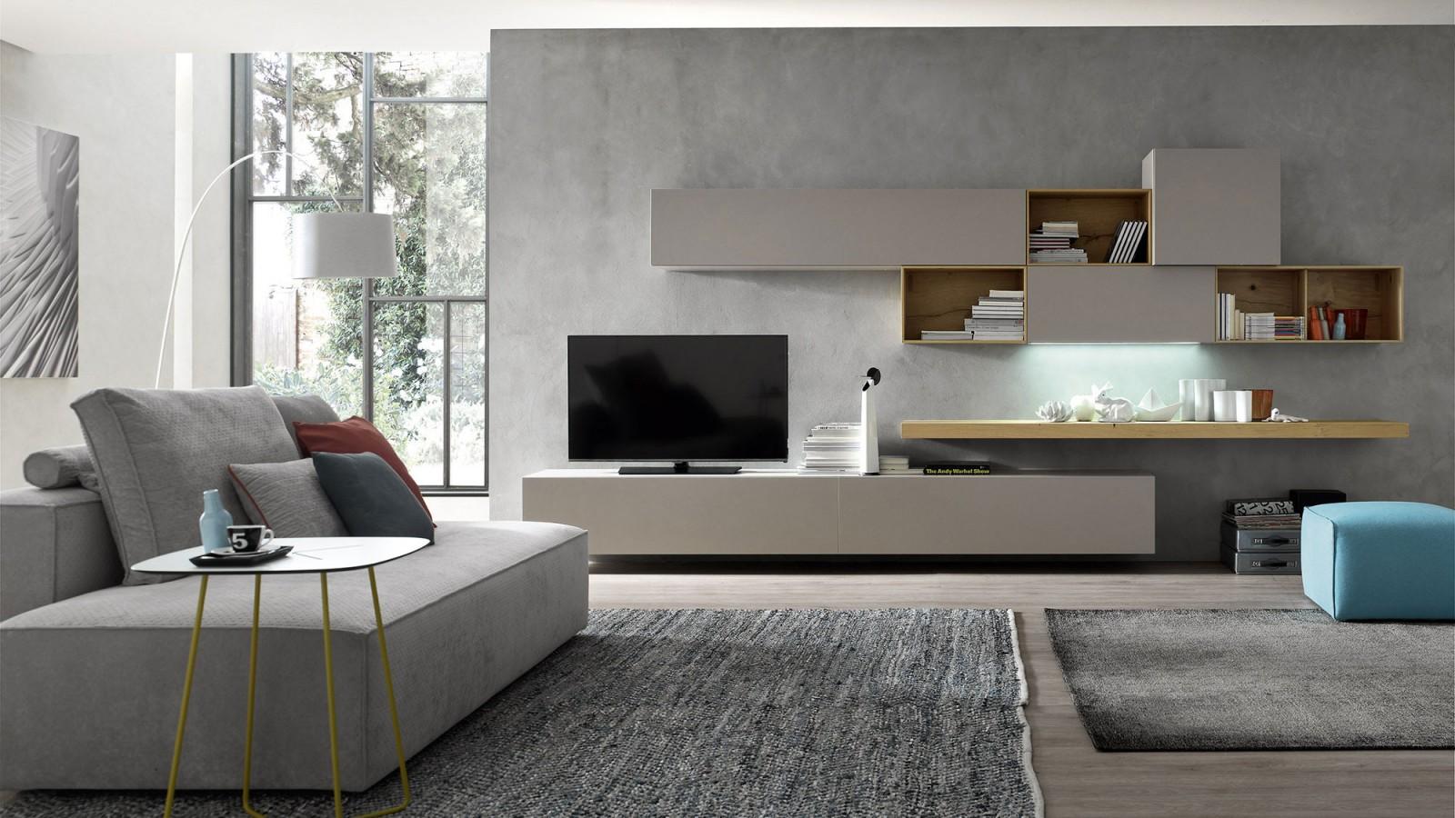 Soggiorno componibile moderno rivestimento in rovere con for Parete attrezzata design moderno