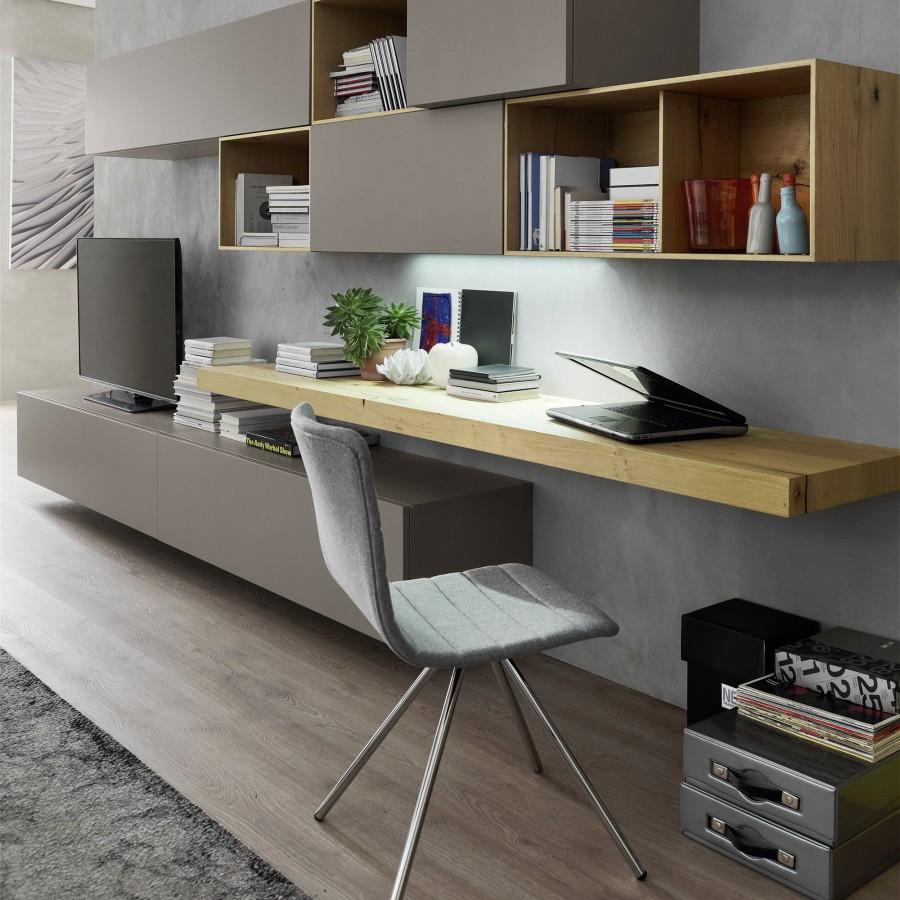 Soggiorno componibile moderno rivestimento in rovere con for Scrivania soggiorno