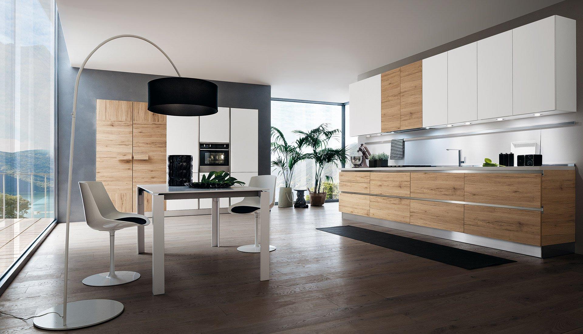 Cucina moderna in rovere Tavolato, Scandinavo, Denver, Marino e ...